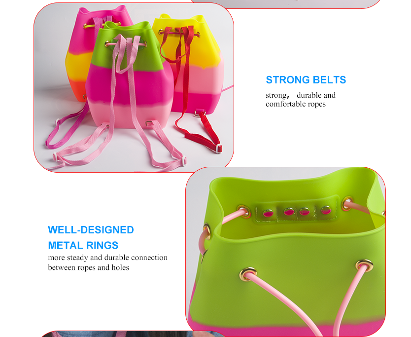 candy color children beach bag kids silicone backpack